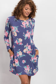 Blue Floral Print Long Sleeve Sweater Dress