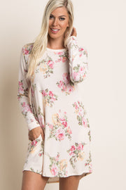 Cream Floral Print Long Sleeve Sweater Dress