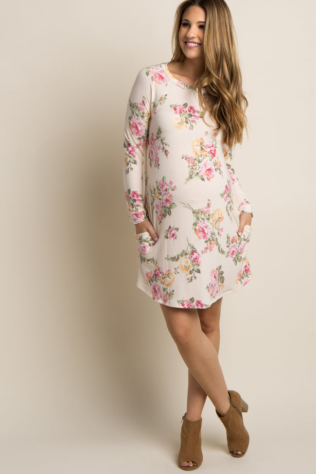 Cream Floral Print Long Sleeve Maternity Sweater Dress