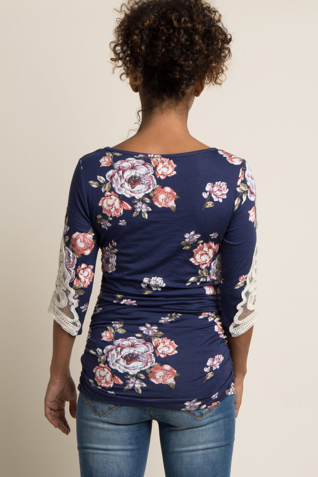 Navy Blue Floral Crochet Sleeve Maternity Top