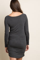 Charcoal Grey Long Sleeve Fitted Dress