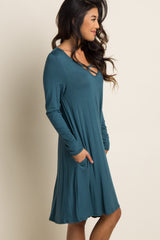 Teal Caged Front Long Sleeve Swing Dress