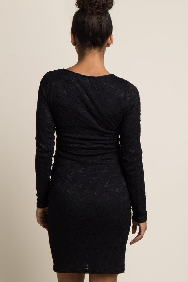 PinkBlush Black Lace Fitted Long Sleeve Maternity Dress