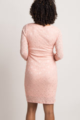 Peach Lace Fitted Long Sleeve Maternity Dress
