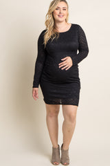 Black Lace Fitted Long Sleeve Plus Maternity Dress