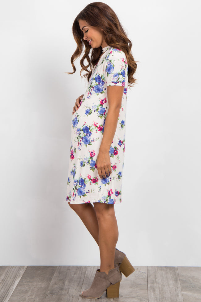 Cream Floral Cutout Short Sleeve Maternity Dress