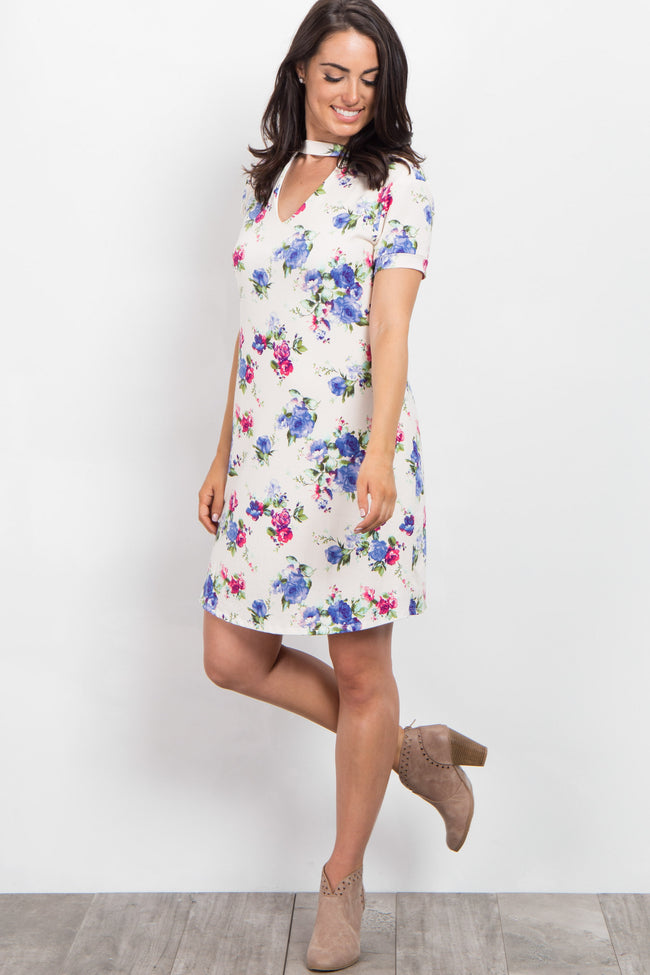 Cream Floral Cutout Short Sleeve Dress