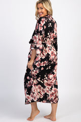 Black Floral Print Delivery/Nursing Long Maternity Robe