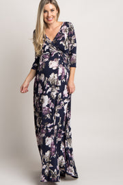 Navy Blue Floral Sash Tie Maternity/Nursing Maxi Dress