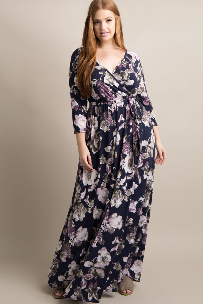 Navy Blue Floral Sash Tie Plus Maternity/Nursing Maxi Dress