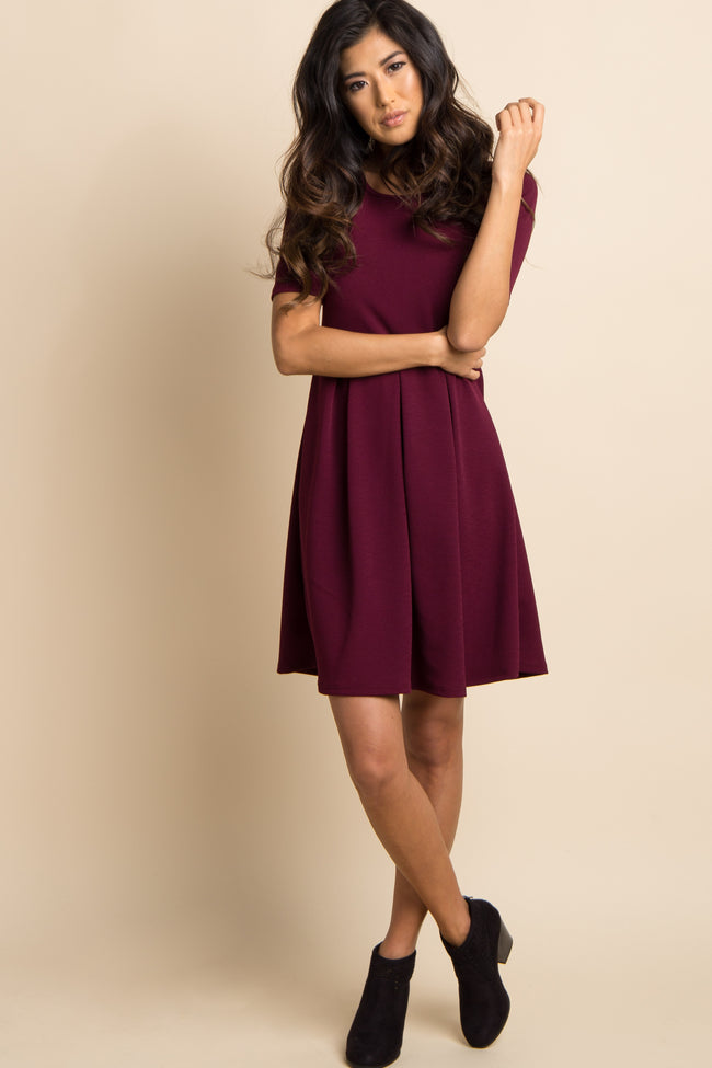 Burgundy Pleated Short Sleeve Maternity Dress