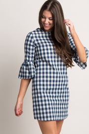 Navy Blue Plaid Ruffle Sleeve Dress