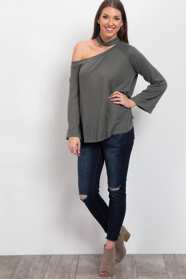 Olive Asymmetric Open Shoulder Maternity Top