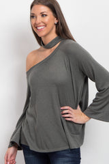 Olive Asymmetric Open Shoulder Top