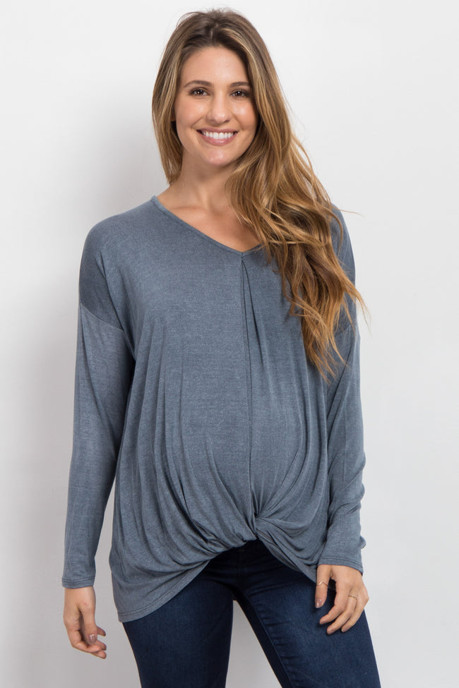 Blue Long Sleeve Maternity Knot Top