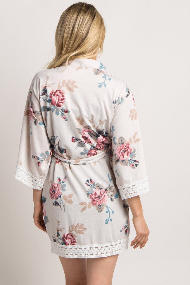 Beige Floral Print Lace Trim Delivery/Nursing Maternity Robe