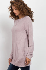 Pink Basic Heathered Long Sleeve Top