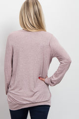 Pink Basic Heathered Long Sleeve Maternity Top