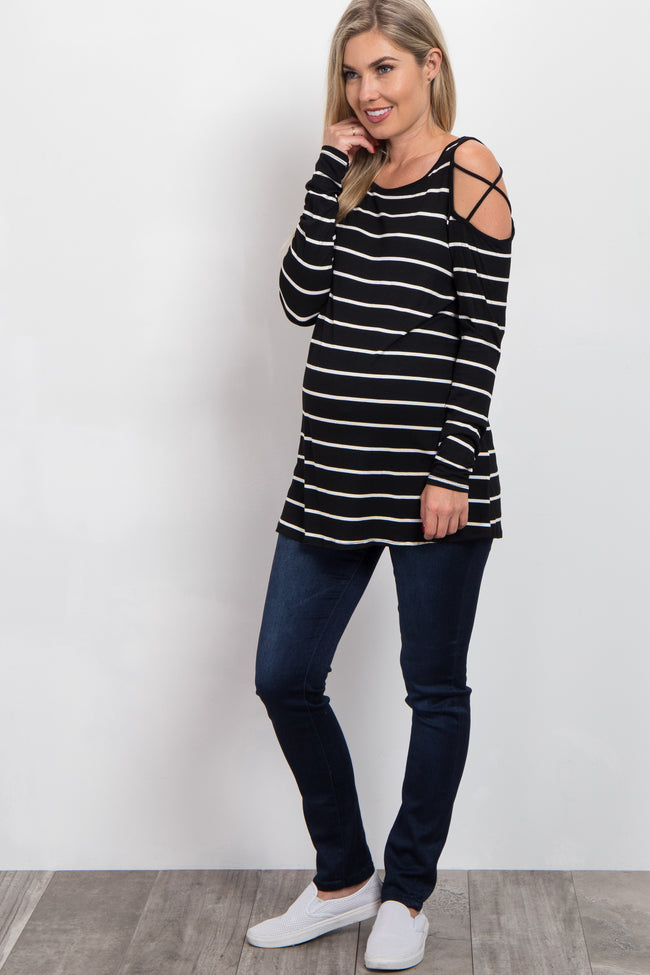 Black Striped Cross Cold Shoulder Maternity Top