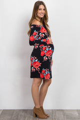 Black Floral Off Shoulder Maternity Dress