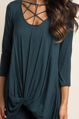 Green Caged Front Knot Women's Top