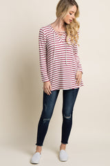 Ivory Red Striped Lace-Up Top