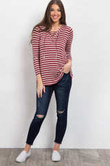 Burgundy Striped Lace-Up Front Top