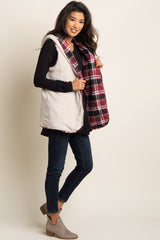 Burgundy Plaid Fuzzy Reversible Hooded Vest