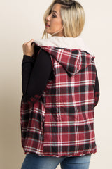Burgundy Plaid Fuzzy Reversible Hooded Maternity Vest