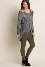 Olive Lace-Up Side Cropped Leggings
