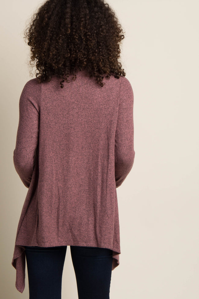 Mauve Draped Button Front Maternity Cardigan