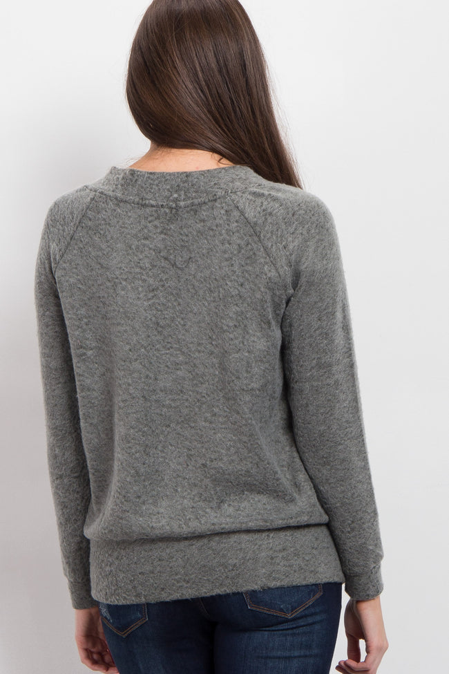 Olive Soft Knit Lace-Up Sweater