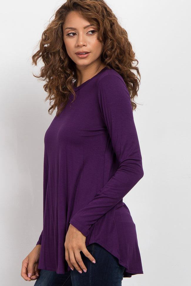 Purple Basic Long Sleeve Top