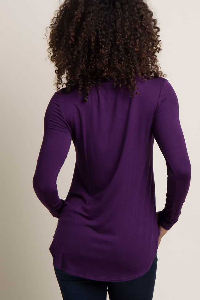 Purple Basic Long Sleeve Maternity Top