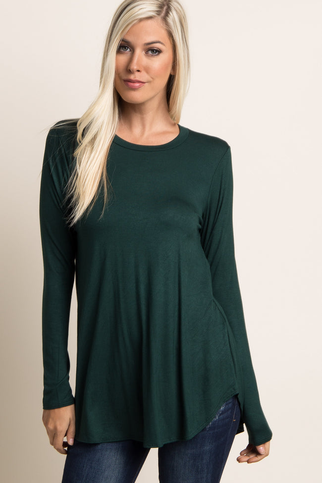Forest Green Basic Long Sleeve Maternity Top