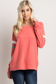 Coral Colorblock Sleeve Wide Neck Top