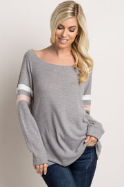 Heather Grey Colorblock Sleeve Wide Neck Top