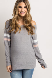 Heather Grey Colorblock Sleeve Wide Neck Maternity Top