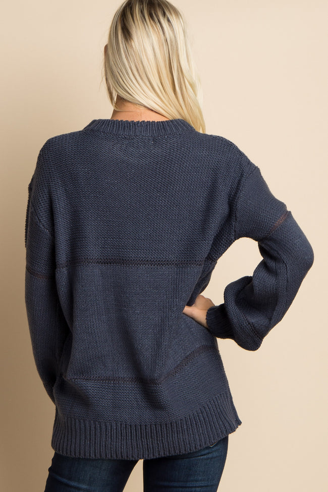 Navy Blue Sheer Striped Accent Knit Sweater