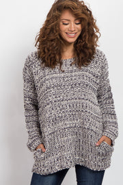 Charcoal Grey Long Sleeve Knit Sweater