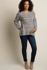 Charcoal Grey Long Sleeve Knit Maternity Sweater