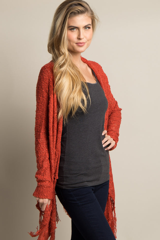 Rust Knit Fringe Trim Cardigan