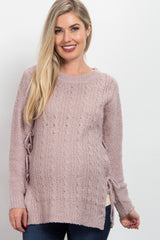 Pink Side Tie Knit Maternity Sweater