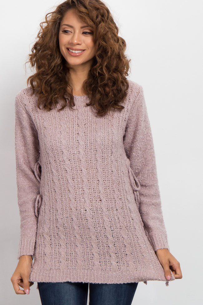 Pink Side Tie Knit Sweater