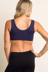 Navy Blue Wrap Front Maternity/Nursing Bra