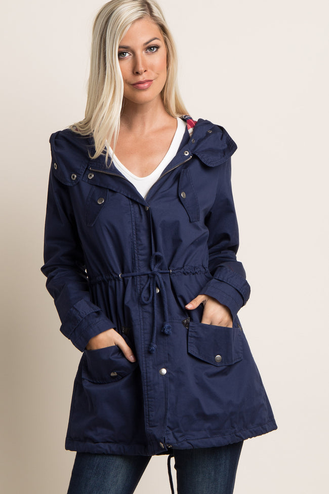 Navy Blue Plaid Hood Cinched Maternity Utility Jacket