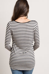 Beige Striped Long Sleeve Maternity Top