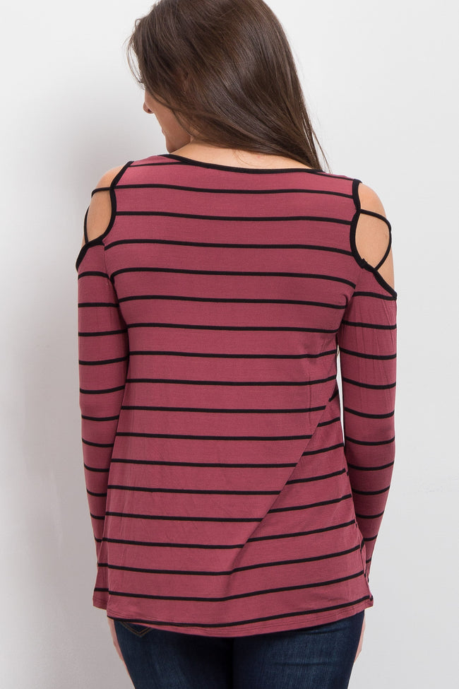 Red Brown Striped Cross Cold Shoulder Top