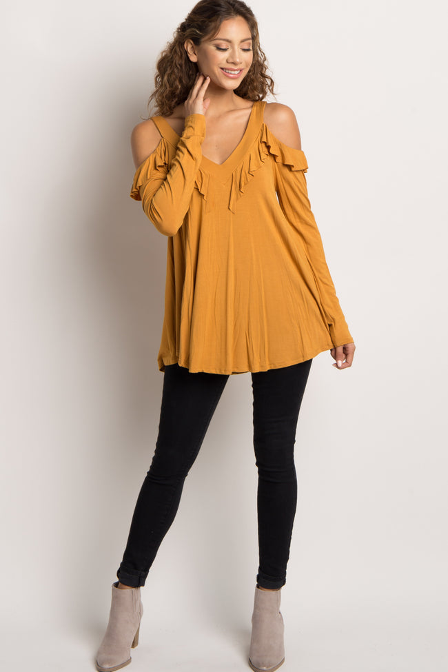 Yellow Ruffle Cold Shoulder Top