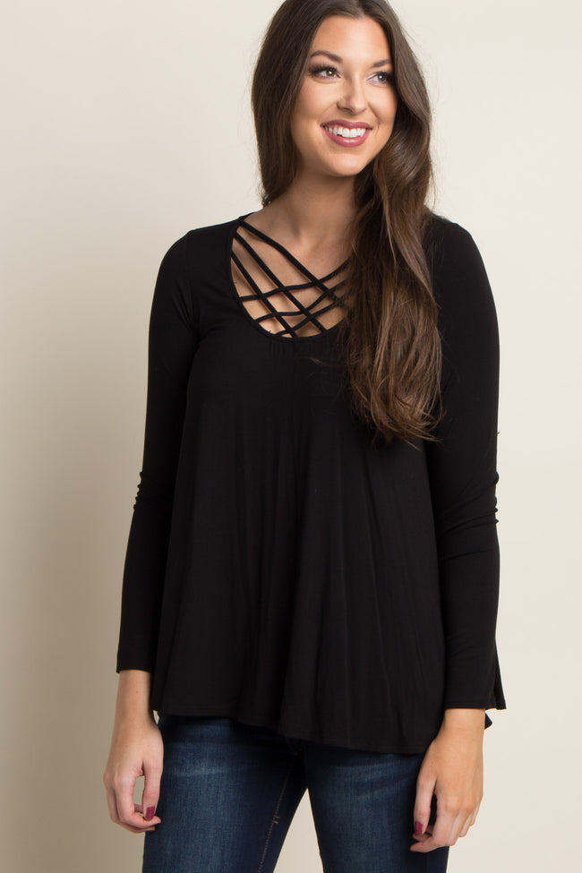Black Caged Crisscross Top
